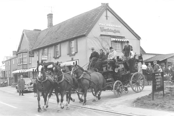 Churchill Arms with stagecoach